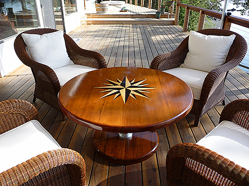 Deck table with inlaid compass rose