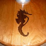 Inlaid design for teak cockpit table pedestal