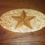 Inlaid teak star for dining table
